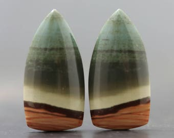 Green Jasper Cabochon Pair, High Quality Natural Stones Flat Back Bezel Edge Gemstones - Wire Wrap Lessons & Beading Gems (20770)