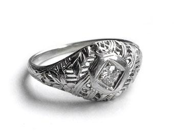 Art Deco Diamond Ring 18K White Gold Vintage Fine Jewelry Engagement Wedding Fashion