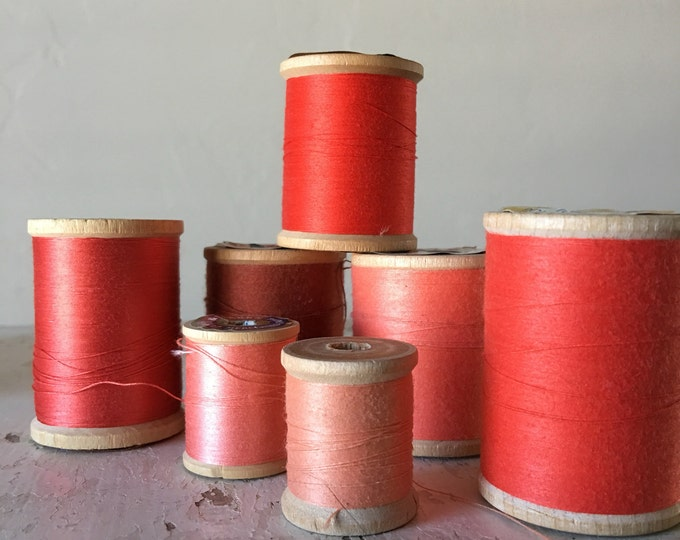 Vintage Wooden Spools Coral Thread Lot