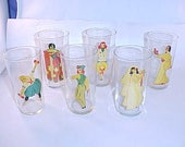 Pin-Up Girl Peek-A-Boo Cocktail Drink Glasses Set of 6