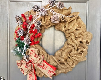 Burlap wreath, christmas wreath, burlap christmas wreath, pinecone wreath, rustic wreath, berry wreath