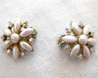 Vintage Mid Century Pearl and Rhinestone Daisy Clip On Special Occasion Earrings