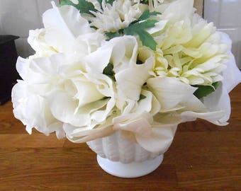Floral Arrangement with Vintage Milk Glass Footed Vase and Mixed White Silk Flowers