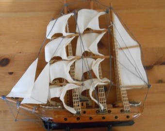 Vintage Carved Wood Clipper Ship Nautical Office Decor Collectible Sail Boat Model