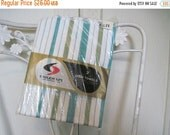 20% OFF SALE 1950s Turquoise & Avocado Green Striped Tea / Dish Towels, set of 2 -  retro kitchen, 50s kitchen, vintage linens - DEADSTOCK b