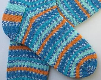 mens wool socks, UK 9-11 US 10-12, gift for men, hand knit mens wool socks, large socks, striped blue orange socks, large womens wool socks