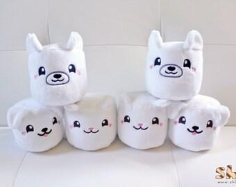 Marshmallow Animal Cuties Handmade Plush Toy, Kawaii Marshmallow, Marshmallow Plush, Cute Marshmallows