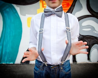Black Houndstooth Bow Tie and Suspenders, Grey and Black Bowtie, Toddler, Tween, Birthday Boy, Ring Bearer Boys Suspenders, Bow Tie, Church