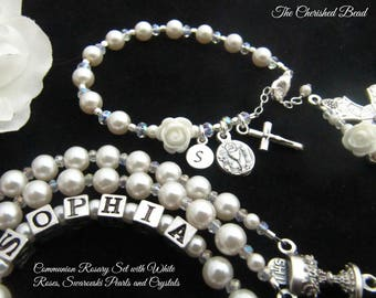 Communion Personalized Rosary Set with White Roses, Swarovski Pearls and Crystals - Rosary and Rosary Bracelet - Heirloom Quality