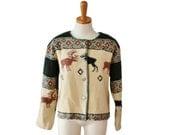 50% half off sale // Vintage 80s Moose Wool Blend Sweater - Muskoka Lakes - button down, earth tones - Women M