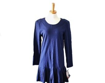 sale // Vintage RAMPAGE Blue Shirt Dress // Women M // Early 90s, tennis, NOS new old stock nwt