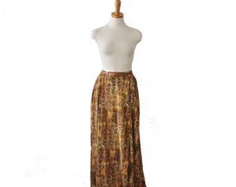 60% off sale // Vintage 90s Ethnic Print Skirt // Women 14 16, full length // Elastic Waist, lined
