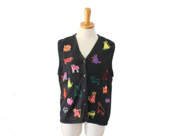 60% off sale // Vtg 90s Susan Bristol Embroidered Dog Sweater Vest - Women Large - Novelty Knit