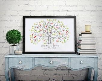 Wedding Guest Book Alternative Fingerprint tree, Apple Tree, unique Guest Book, thumbprint tree, Rustic Wedding, thumbprint guestbook
