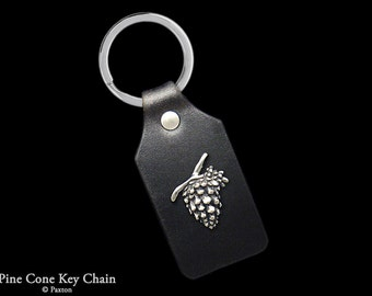 Pinecone Keychain / Keyring Sterling Silver Pine Cone on Genuine Leather Key Fob