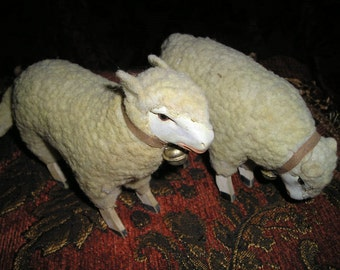 Vintage PR.European/German LG. Wooly Sheep/Stick Leg Lambs w/Bells.Home Holiday/Easter Decor.