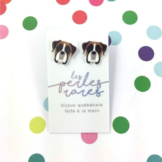 Boxer,  white and brown, dog earring, dog, hypoallergenic, plastic, stainless stud, handmade, les perles rares
