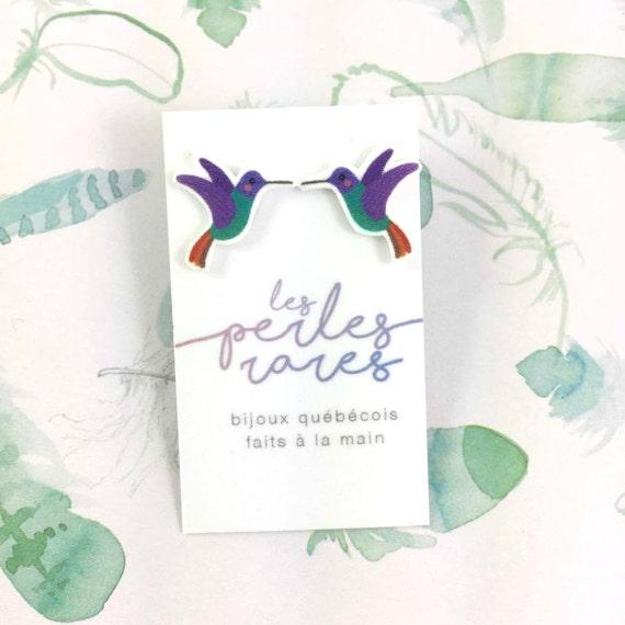humming-bird, bird, little bird, purple, green, print on plastic, shrink plastic earring, stainless stud, handmade, les perles rares
