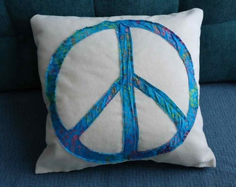 Peace Pillow, Turquoise batik fabric peace sign on cream color with turquoise back. Hug me!