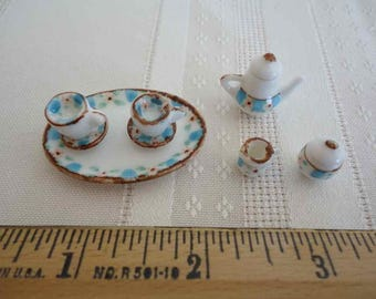 Teaset, miniature, tiny white ceramic with Blue and pink floral pattern
