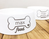 Dog Bowls Set Ceramic China Custom Personalized Dog Bowl Set Dog Bowls with Pet Names Dog Bowls Set Matching  Dog Treat Jar Sold in Store