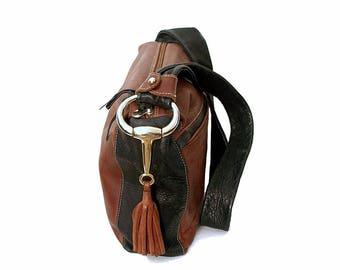 Vintage 1980s Shoulder Bag Large Soft Leather Rich Brown and Black Handbag