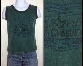 1960s Sorry Charlie Starkist Tuna Fish Tank Top Sweatshirt looks size Small dark green black ringer thick cotton