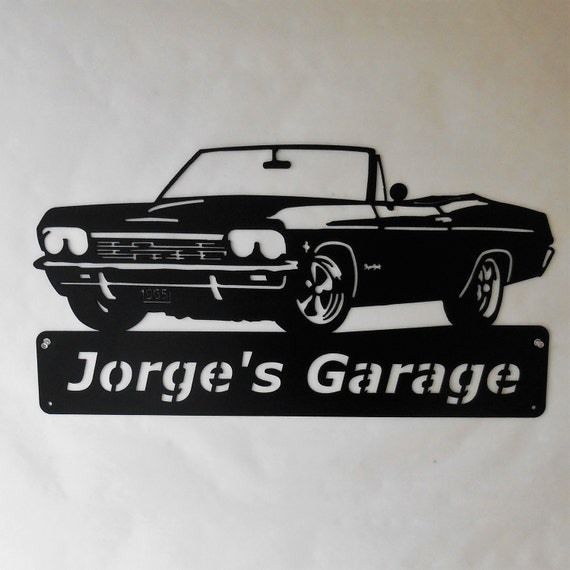 1965 Chevy Impala Convertible - Personalized Metal Sign- Man Cave- Classic Car - Muscle Car -Garage Sign -Satin black