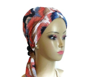 Chevron Lace Turban Scarf | Jersey Knit Cancer Patient Hat |breathable Hair Covering | Tichel Mitpachat Head Wrap | Volumizer Chemo Headwear