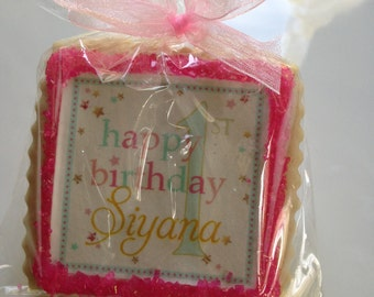 Girl birthday custom cookie party favors