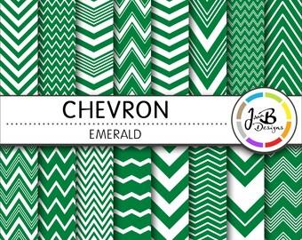 Chevron Digital Paper, Emerald, Green, White, Chevron, Zig Zag, Digital Paper, Digital Download, Scrapbook Paper, Digital Paper Pack