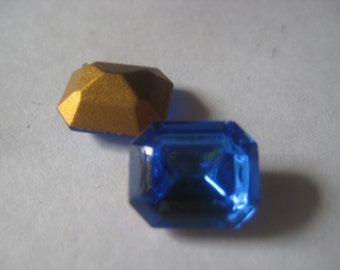 12x10 Swarovski Rhinestone Sapphire Octagon Vintage Jewel Qty 22