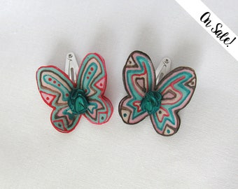 Two silk butterflies - pink, mint and brown - hair snap pins / clips - baby hair clips - ***Item on sale*** Previous price : 18.50 EUR