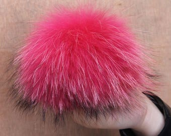 Genuine Raccoon Fur Detachable Extra Large Pom Pom Fur Ball for Hats Beanie Hats Scarves Fluffy Pompom