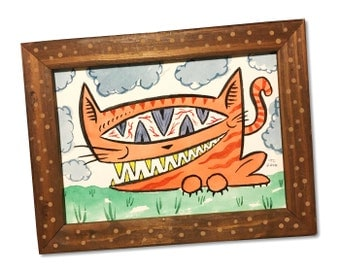 Orange Tabby Cat - ink and watercolor painting