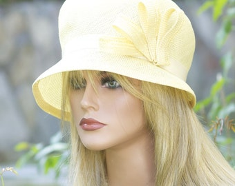 Hat Sale. Wedding Hat, Women's Yellow Hat Cloche, Tea Hat Downton Abbey Hat Miss Fisher Hat, 1920s 1930s vintage hat, Derby Hat, Formal hat,