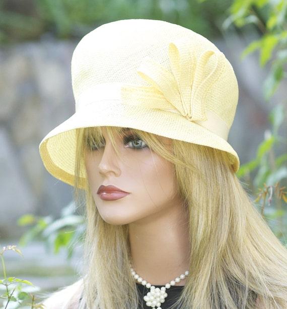 Wedding Hat, Derby Hat, Women's Yellow Hat, Cloche, Tea Party Hat, Downton Abbey Hat