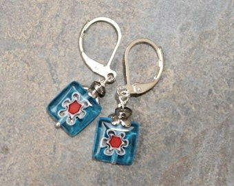 Flower Earrings, Glass Earrings, Light Blue Earrings, Turquoise Earrings, Red Flower Earrings, Spring Earrings, Bohemian Earrings, For Her