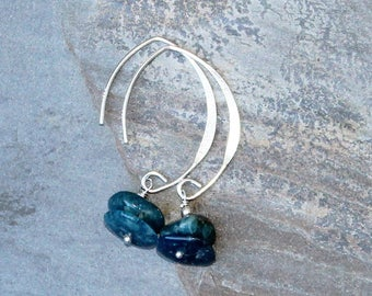 Apatite Earrings, Teal Blue Earrings, Sterling Silver Earrings, Natural Stone Earrings, Semi Precious Stone, Handmade Earrings, Raw Earrings