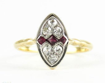 Vintage Diamond & Ruby Ring, Square Cut Rubies with Love Heart Design Diamonds. Marquise Shape Dress Ring, 18ct.