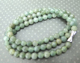 Vintage Genuine Jade Necklace / Statement Necklace / Jewelry / Sterling Silver Clasp / Jade Gemstone Necklace / Anniversary Gift / Jade