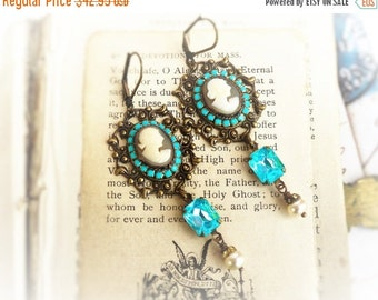 On Sale She Wore Blue, Genuine Carved Italian Shell Cameo,Vintage Aqua Rhinestone and Pearls Assemblage Earrings by Hollywood Hillbilly