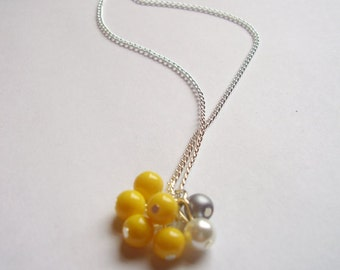 Yellow, grey and white silver beaded cluster pendant necklace
