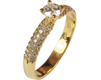 Mothers day gift, Solitaire Ring Unique Pave Diamond Engagement ring in yellow gold 0.44 ct total Diamonds – IGL Report