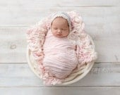 Ruffle Stretch Fabric Wrap Baby Pink Newborn Photography Prop Posing Swaddle