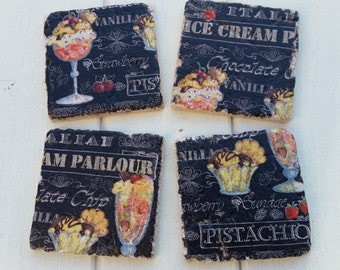 Ice Cream Parlour Black Stone Coaster Set of 4 Tea Coffee Beer Coasters