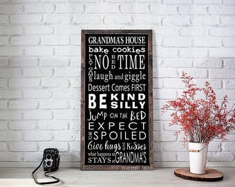 GRANDMA'S HOUSE RULES sign | Wooden Sign | Personalized Gift For Grandma | Mother's Day Present |  Gifts for Her| Wall Art | Custom Family