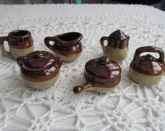 Mini Terra Cotta Teapot Pitcher Mug Bean Pot Coffee Pot Pan Miniature Brown Glazed Lot of 6 Pieces Toys Taiwan