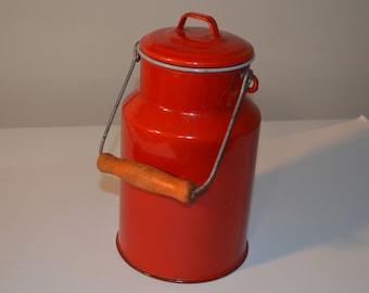 Red enamelware pail - enamel bucket - water - milk - farmhouse - country graniteware vintage antique