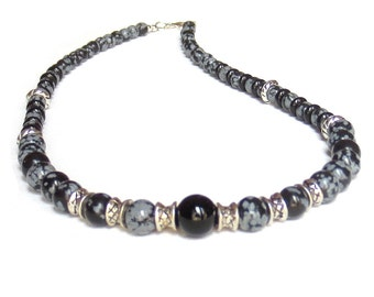 Men's Obsidian Necklace, Boyfriend Gift, Silver and Black Necklace, Gift for Him, Snowflake Obsidian & Black Onyx Necklace, Men's Necklace